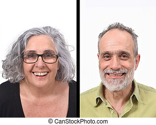 portait of a couple on white background