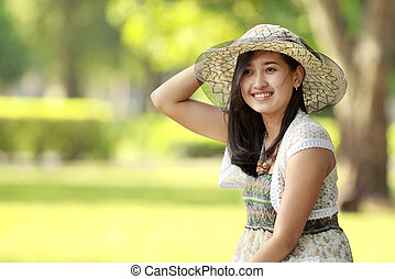 asian young woman smiling