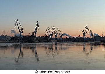 portal cranes on horizon