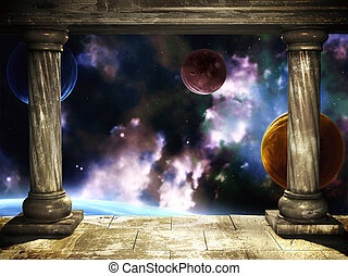 Portal - Frame with two medieval columns and space scene