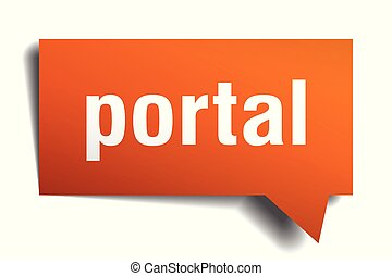 portal orange 3d speech bubble - portal orange 3d square...