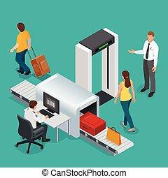 portal., passa, raio x, segurança, fita, passageiros, transporte, computador, monitorando, oficial, aeroporto., aeroporto, cheque, varredura, baggage.