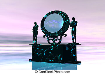 PORTAL - Statues stand near a dimensional portal to another...