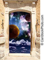 Portal - Frame with ancient door and space scene