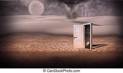 Portal - Surrealism. Storm in white desert. White door is a...