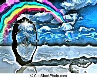 Portal - Surrealism. Water drops comes through sky portal....