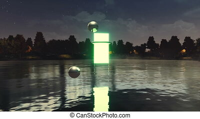 Portal to another dimension above lake at night - Glowing...