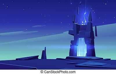 portale, cornice, notte, pietra, magia