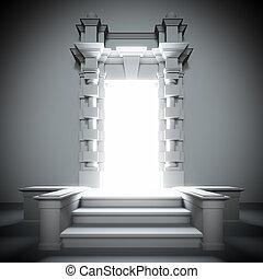 portale, futuro luminoso, light., bianco