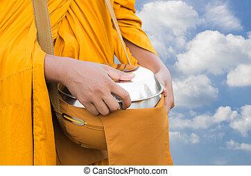 portante, buddista, ciotola, monaco, elemosina
