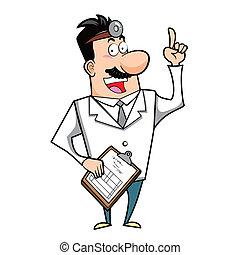 portapapeles, caricatura, doctor