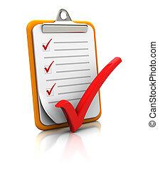 portapapeles, con, lista de verificación