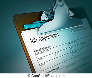 portapapeles, con, solicitud de empleo