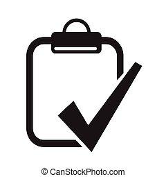 portapapeles, lista, cheque, icono