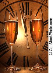 portare, anno, pronto, nuovo, bicchieri champagne