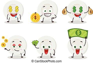 portare, carattere, cartone animato, espressione, emoticon, carino, soldi, piastra, arrabbiato