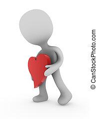portare, cuore, uomo, rosso, 3d