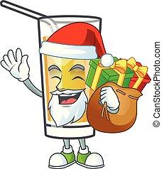 portare, santa, mela, regalo, cartone animato, carattere,...