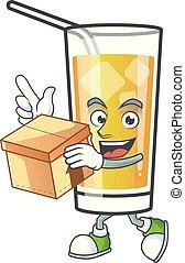 portare, scatola, mela, cartone animato, carattere, sidro
