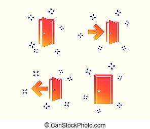 portas, emergência, símbolo., vetorial, saída, seta, signs.