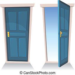 portas, fechado, e, abertos