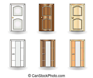 portas, jogo, fundo, branca
