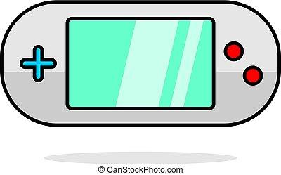 portatil, juego, vídeo, consola