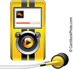 portatile, giocatore, musica, mp3, media