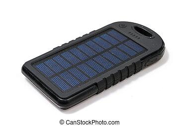 portatile, solare, caricatore, per, far male, telefono