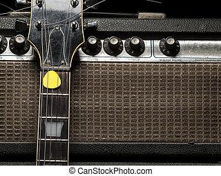 portato, elettrico, ampere, chitarra