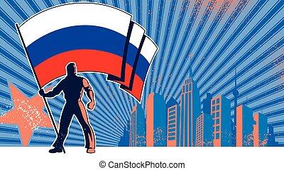 portatore bandiera, fondo, russia