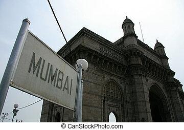 porte, à, inde, mumbai, inde