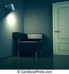 porte, électrique, sofa, sombre, lampe, lumière, intérieur