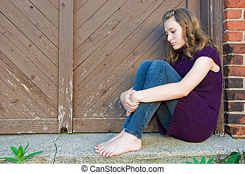 porte, adolescente, triste