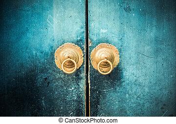 porte, antiquité, marteau, oriental