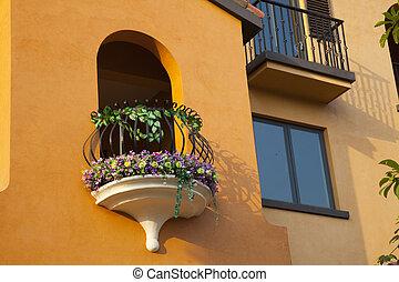 porte, arqué, balcon