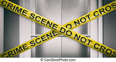 porte ascenseur, texte, jaune, crime, scene., arrière-plan., croix, avertissement, illustration, barbouillage, pas, bande, 3d