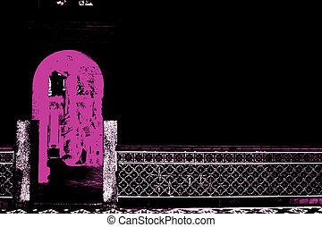 porte, asiatique, temple