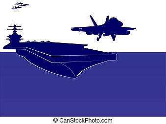 porte-avions, décollage