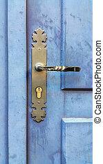 porte bleue, bois, vendange, métallique, trou de la serrure, poignée