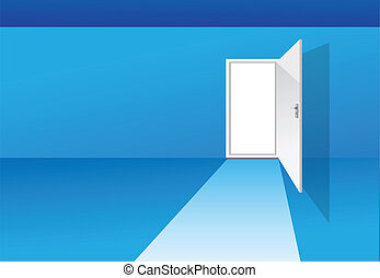 porte bleue, salle