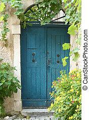 porte bleue, vieux, fleurs