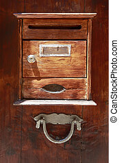 porte, boîte lettres, vendange, bois