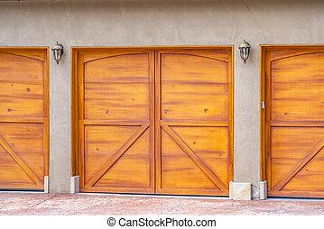 porte brune, maison bois, haut, garage, extérieur, fin, vue