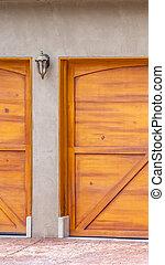 porte brune, vertical, maison bois, cadre, haut, garage, extérieur, fin, vue