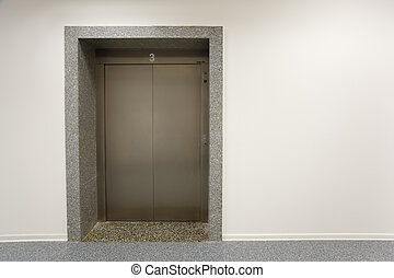 porte, bureau, troisième, plancher, métal, ascenseur, bâtiment.