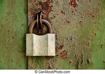 porte, cadenas, rouillé, vieux, fer
