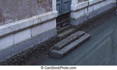 porte, canal, eau, maison, venise, vers