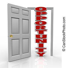 porte, chances, croissance, frappe, nouveau, occasion, ouvre