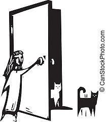 porte, chat